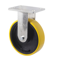 1000KG Industrial Cast Iron Castor - Polyurethane on Cast Iron Wheel - 203mm - Plate Fixed - Ball Bearing