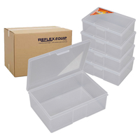 Storage Box - Clear Plastic - 195 x 136 x 66mm - 1 Compartment - PACK of 14