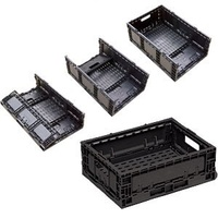 33L Plastic Foldable Stacking Crate - 578 x 385 x 172mm - Grey - Vented