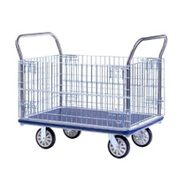 Trolley - Platform - Mesh Sides - Vinyl Top - 1240 x 790 mm - Chrome - Prestar