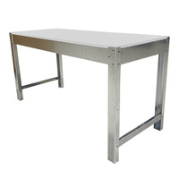 Workshop Heavy Duty Steel Framed Work Bench - 2400 x 900 x 680mm - Melamine 18mm Top