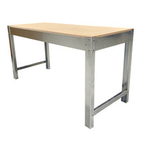 Workshop Heavy Duty Steel Framed Work Bench - 2400 x 900 x 820mm - MDF 18mm Top