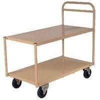 200KG Steel 2 Deck Platform Trolley Medium - 1110 x 610mm - Beige - Australian Made