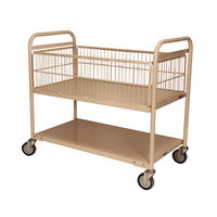 200KG 2 Deck Industrial Steel Trolley - Mesh Surround - 1110 x 710mm - Beige