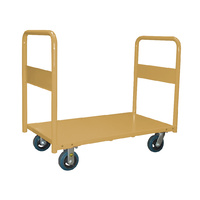 450KG Steel Heavy Duty Platform Trolley - 2 Handle 4 Wheel -  810 x 510 x 1040mm - Beige