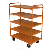200kg Rated 5 Tier Industrial Steel Trolley - 1110 x 510mm - Orange