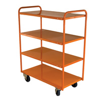 200KG 4 Deck Industrial Steel Trolley - 1110 x 610mm - Orange - Australian Made