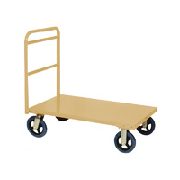 450KG Steel Heavy Duty Platform Trolley - 1 Handle 4 Wheel - 1110 x 710 x 1000mm - Beige - Australian Made