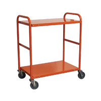 200KG Steel Multipurpose 2 Deck Trolley - 1110 x 510mm - Orange - Australian Made