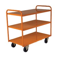 200KG Steel Multipurpose 3 Deck Trolley Medium - 810 x 510mm - Orange - Australian Made