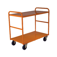 200KG Steel Multipurpose 2 Deck Trolley Medium - 1110 x 610mm - Orange - Australian Made