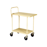 200KG 2 Deck Steel Trolley Compact With Push Handle - 750 x 440mm - Beige