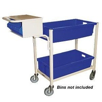 Order Picking Warehouse 2 Deck Trolley - Writing Top & Console - Beige (Bins not included) - Australian Made