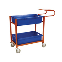 Order Picking Warehouse 2 Deck Trolley - Writing Top - Orange (Bins not included) - Australian Made
