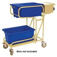 Order Picking Warehouse 2 Tier Trolley - Writing Top & Console - Beige (Bins not included) - Australian Made