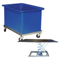 320 Litre Durable Plastic Bin Trolley - 900 x 600 x 615mm - Blue - Australian Made