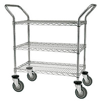 3 Tier Mesh Basket Trolley - 760 x 460mm - Chrome