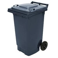 140L HDPE Wheelie Waste Bin - Grey - Australian Made
