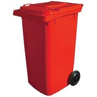 240L HDPE Wheelie Waste Bin - Red - Australian Made