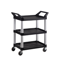 3 Tier Service Utility Cart - Black 854 X 473 X 960mm