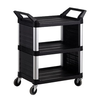 3 Tier Service Utility Cart W/Enclosed Ends - Black - 854 x 473 x 960mm