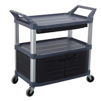 135kg Rated 3 Tier Utility Cart With Lockable Lower drawer - Black