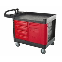 340kg Rated Heavy Duty Mobile Work Truck Workstation Tool Storage -Four Drawers - Black And Red