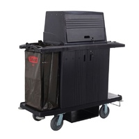 Grandmaid Housekeeping Cart with Doors and Protective Security Hood - Black