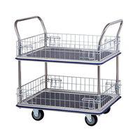 370KG 2 Deck Platform Trolley With Mesh - Vinyl Top - 985 x 610mm - Chrome