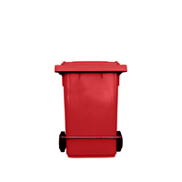 80L Industrial Wheelie Waste Bin With Lid Lifter - Red