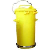 50L Industrial Wheelie Waste Bin With Lid Lifter - Yellow