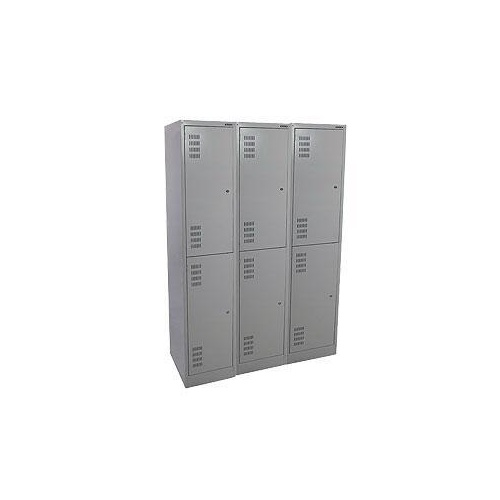 Locker - Steel - Brownbuilt (300) - 900 x 450 x 1800mm - 2 Tier - Bank of 3