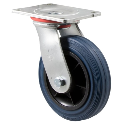 "Castor - ""H"" Series - 230kg - Hi Resilience Wheel - 150mm - Plate Swivel - Plain Bearing - ISO"