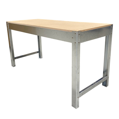 Workshop Heavy Duty Steel Framed Work Bench - 2400 x 900 x 680mm - MDF 32mm Top