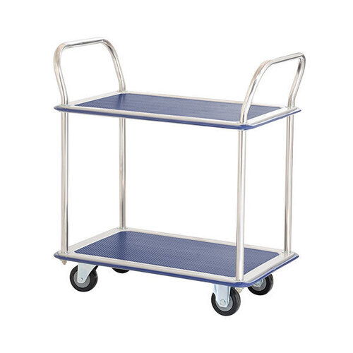 220KG 2 Deck Trolley - Vinyl Top - 785 x 485mm - Chrome