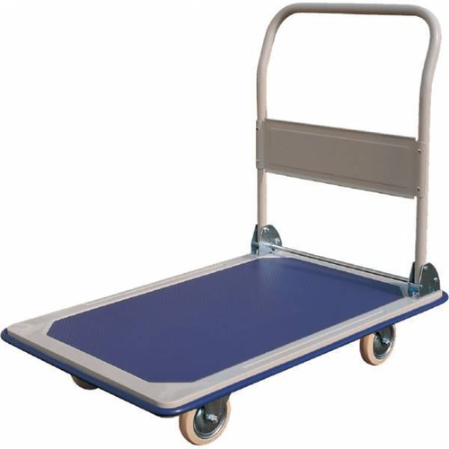 250kg Rated Platform Trolley With Folding Handle - Vinyl Top - 890 x 600mm
